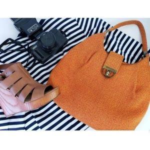 Vintage orange tweed hobo shoulder bag